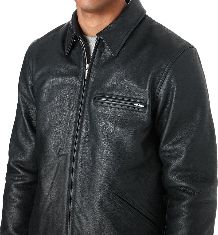 13f5cdb7f A.P.C. Black Detroit Leather Jacket for men