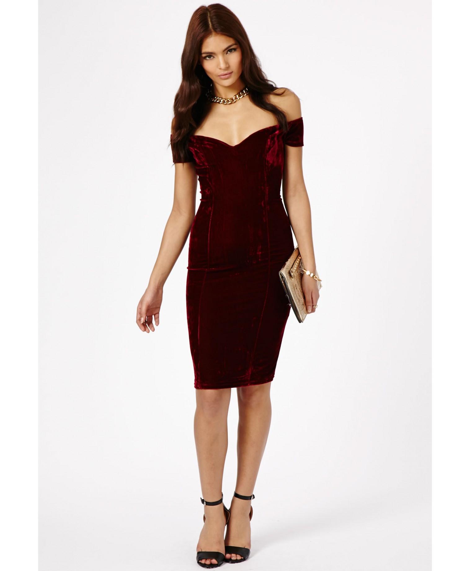 Missguided Rila Velvet Bardot Bodycon Midi Dress In