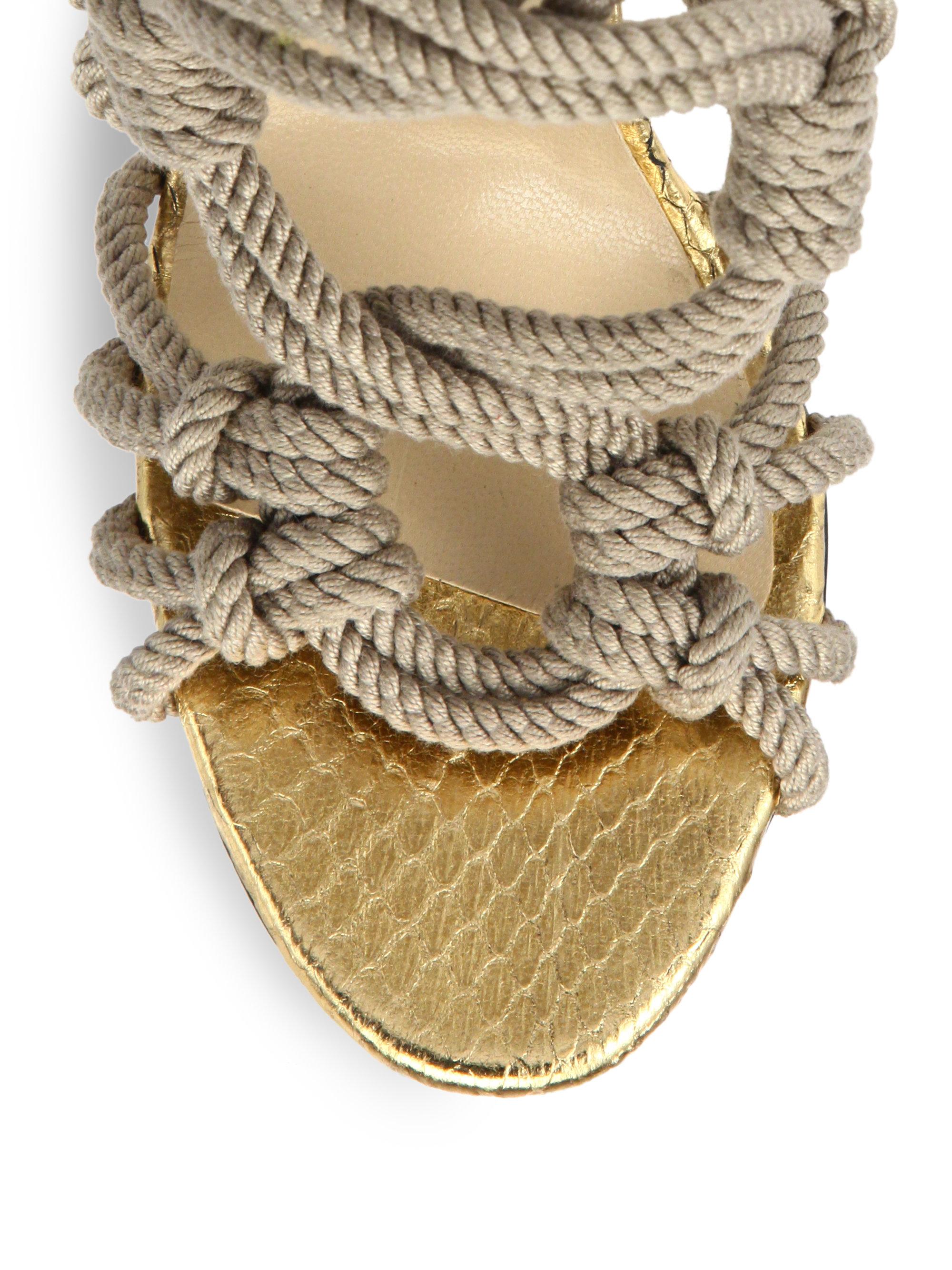 jimmy choo keane braided rope sandal boots in natural