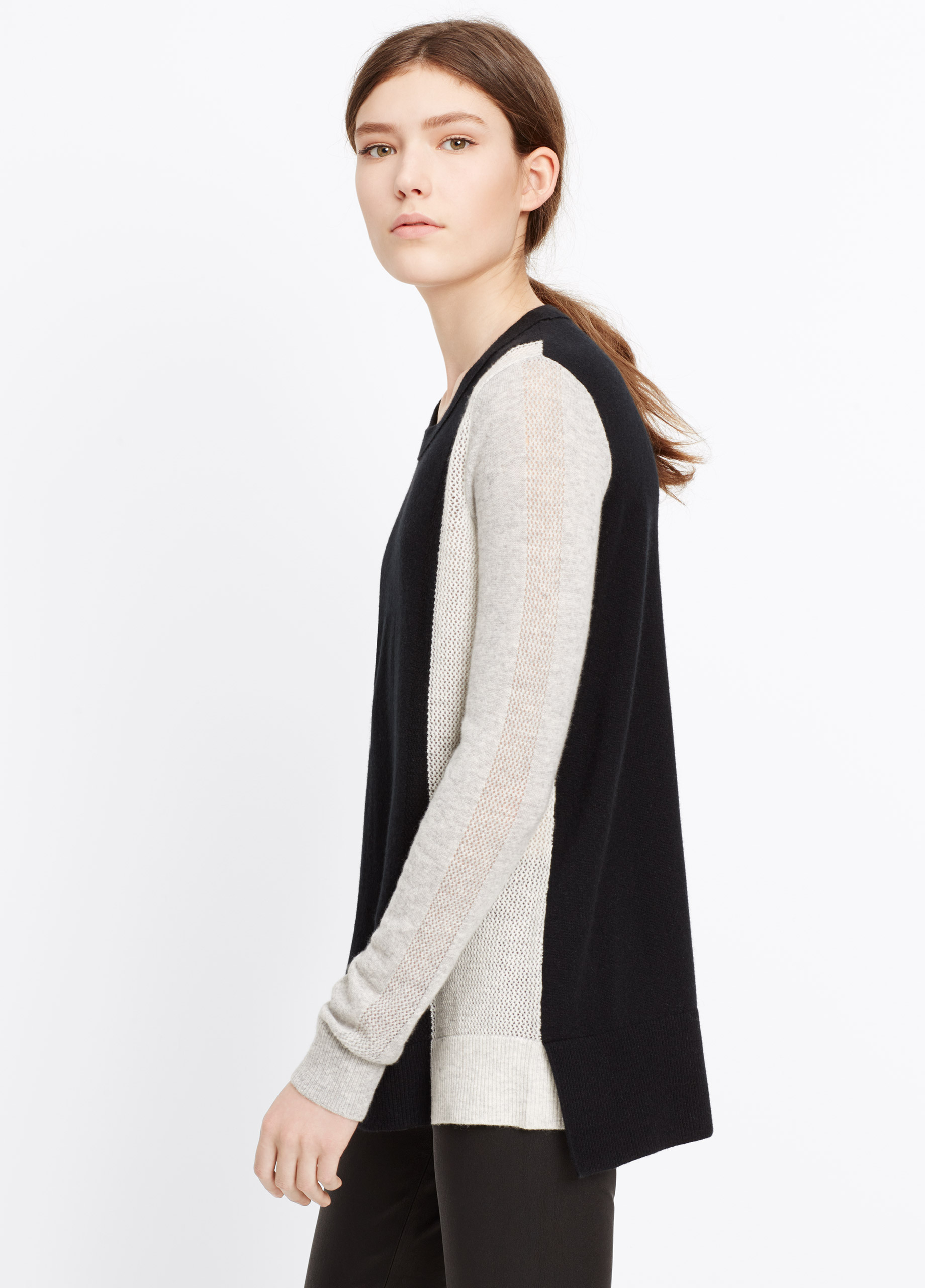 Vince Colorblock Cashmere Crew Neck Sweater in Black | Lyst