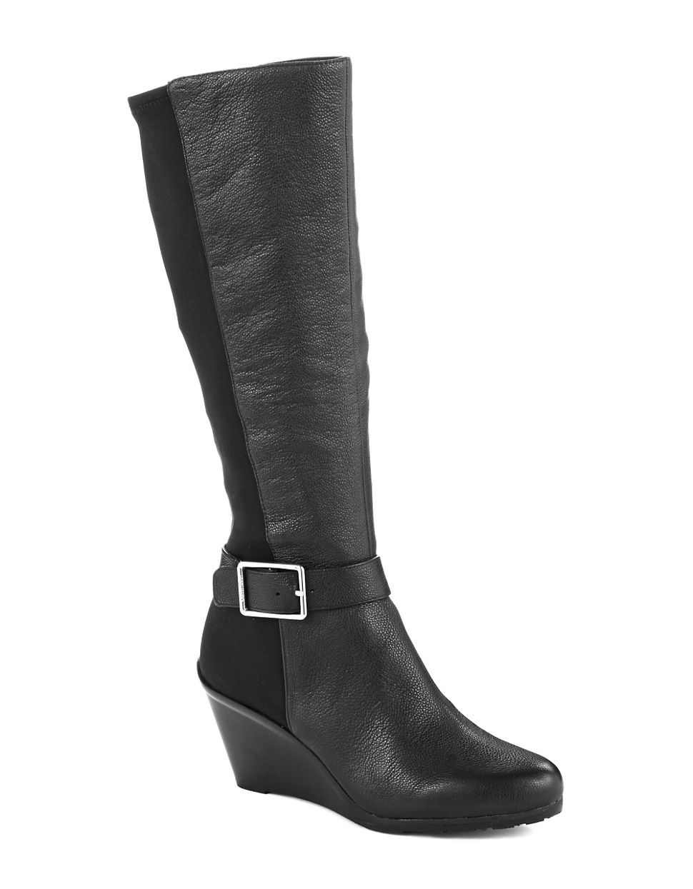 calvin klein taya knee-high boots in black