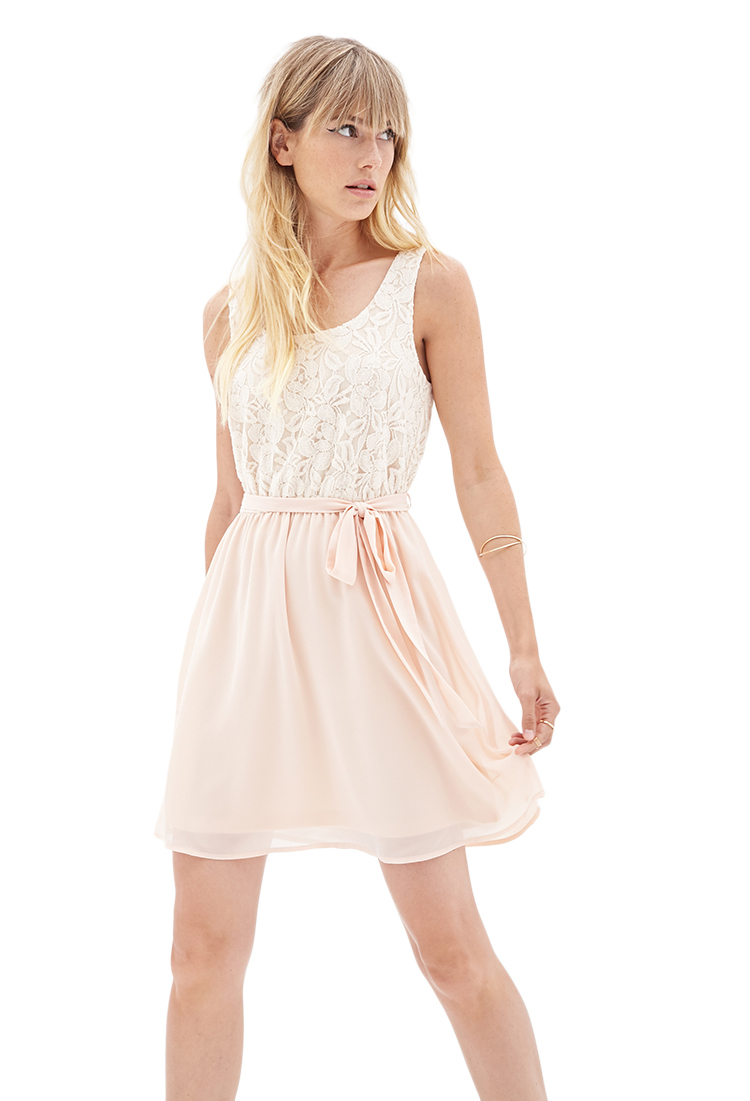 Forever 21 Hyperfemme Floral Lace Dress In Cream Peach