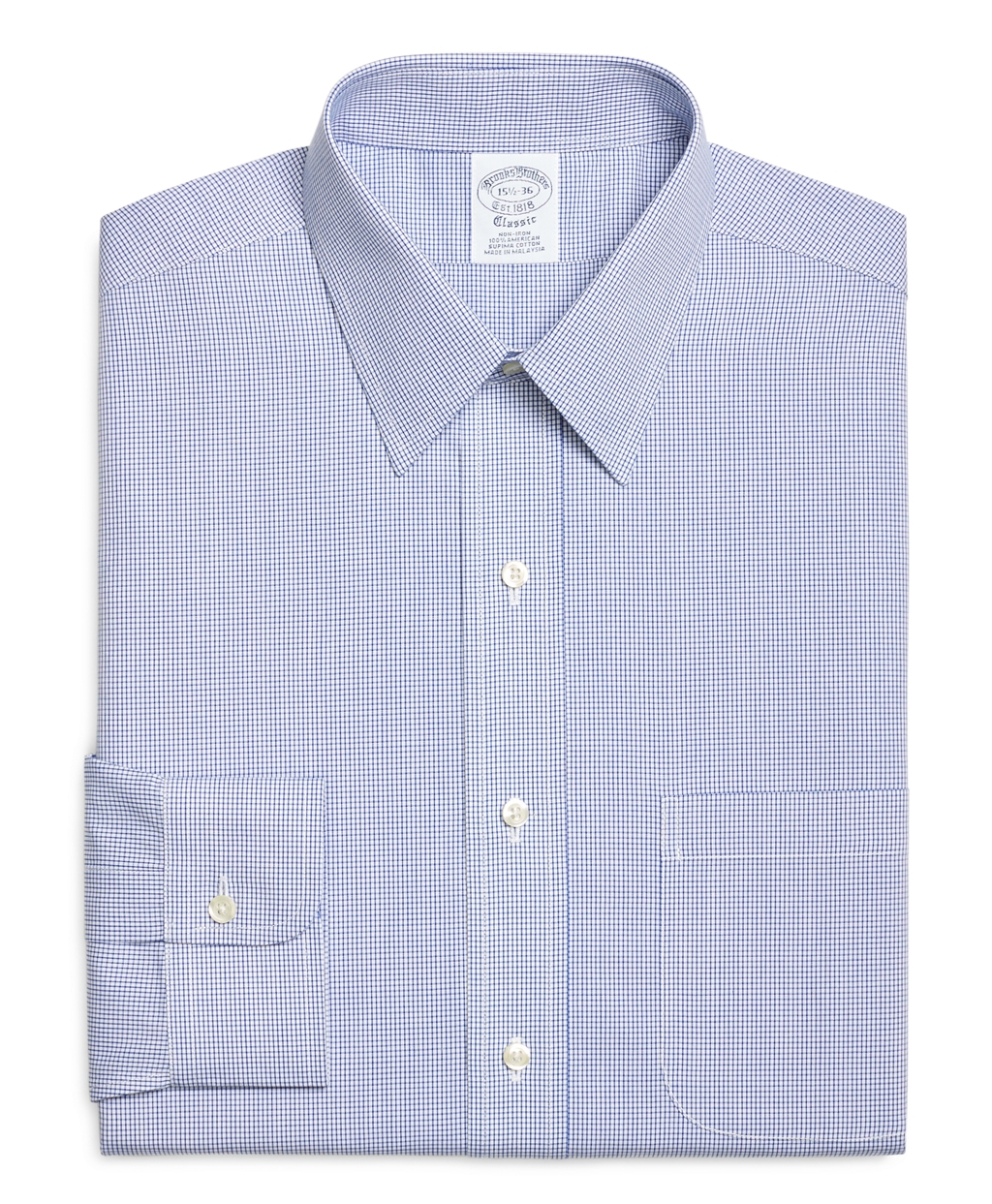 Brooks brothers non iron extra slim fit mini check dress for Extra trim fit dress shirt