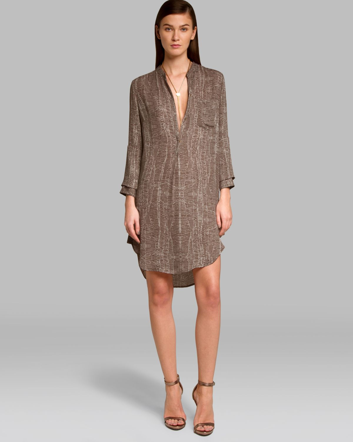 Halston dress print shirt in brown lyst for Halston heritage shirt dress