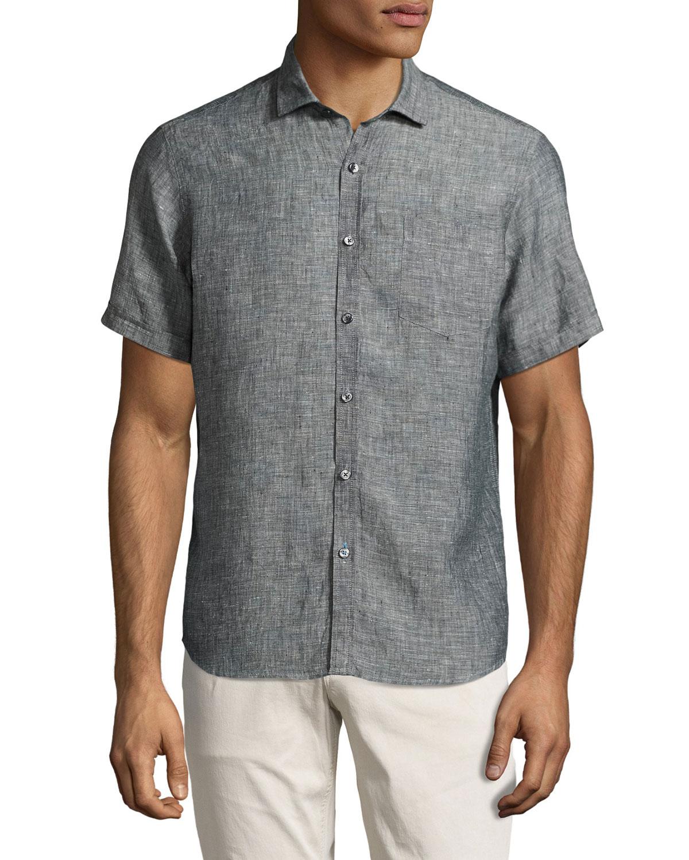neiman classic fit linen chambray sport shirt in