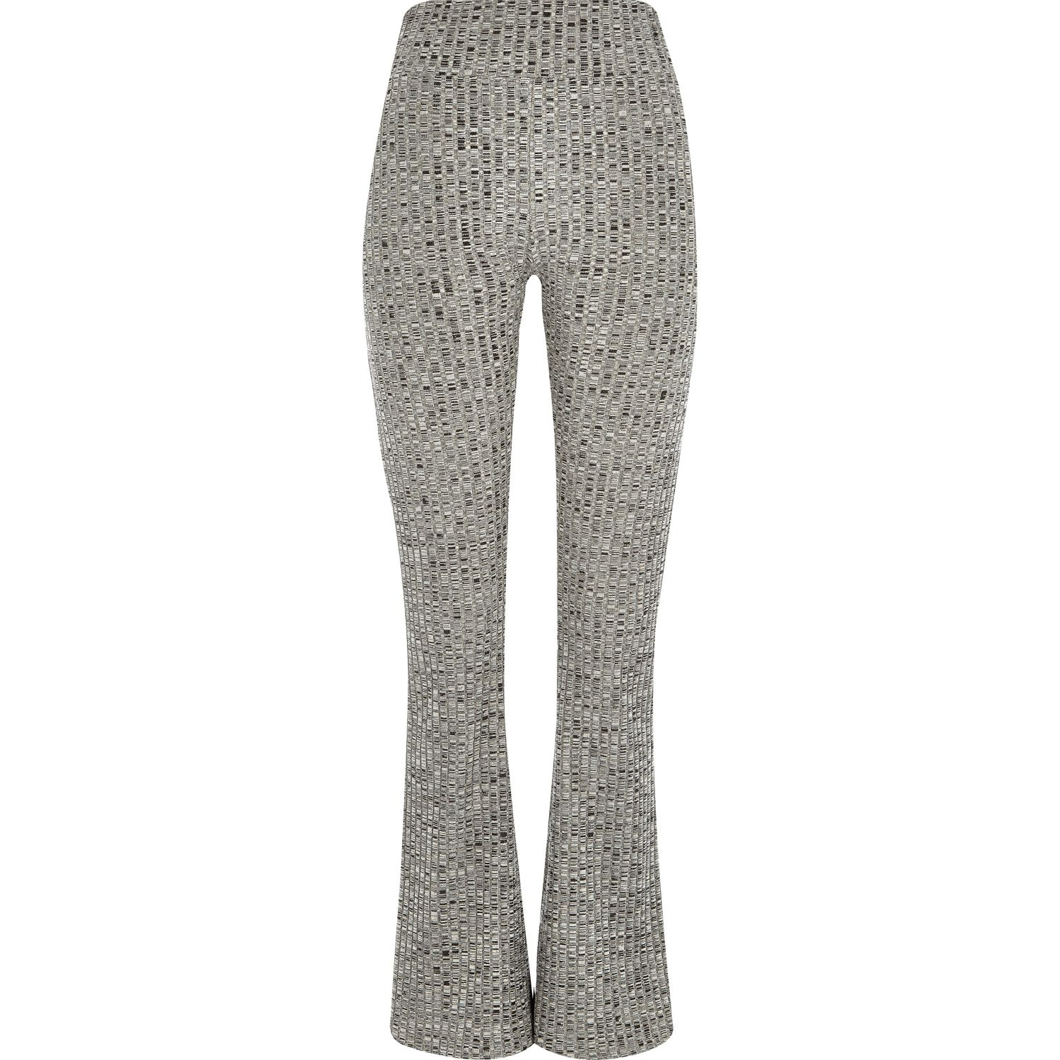 River Island Cotton Grey Ribbed Flared Leggings In Gray Lyst