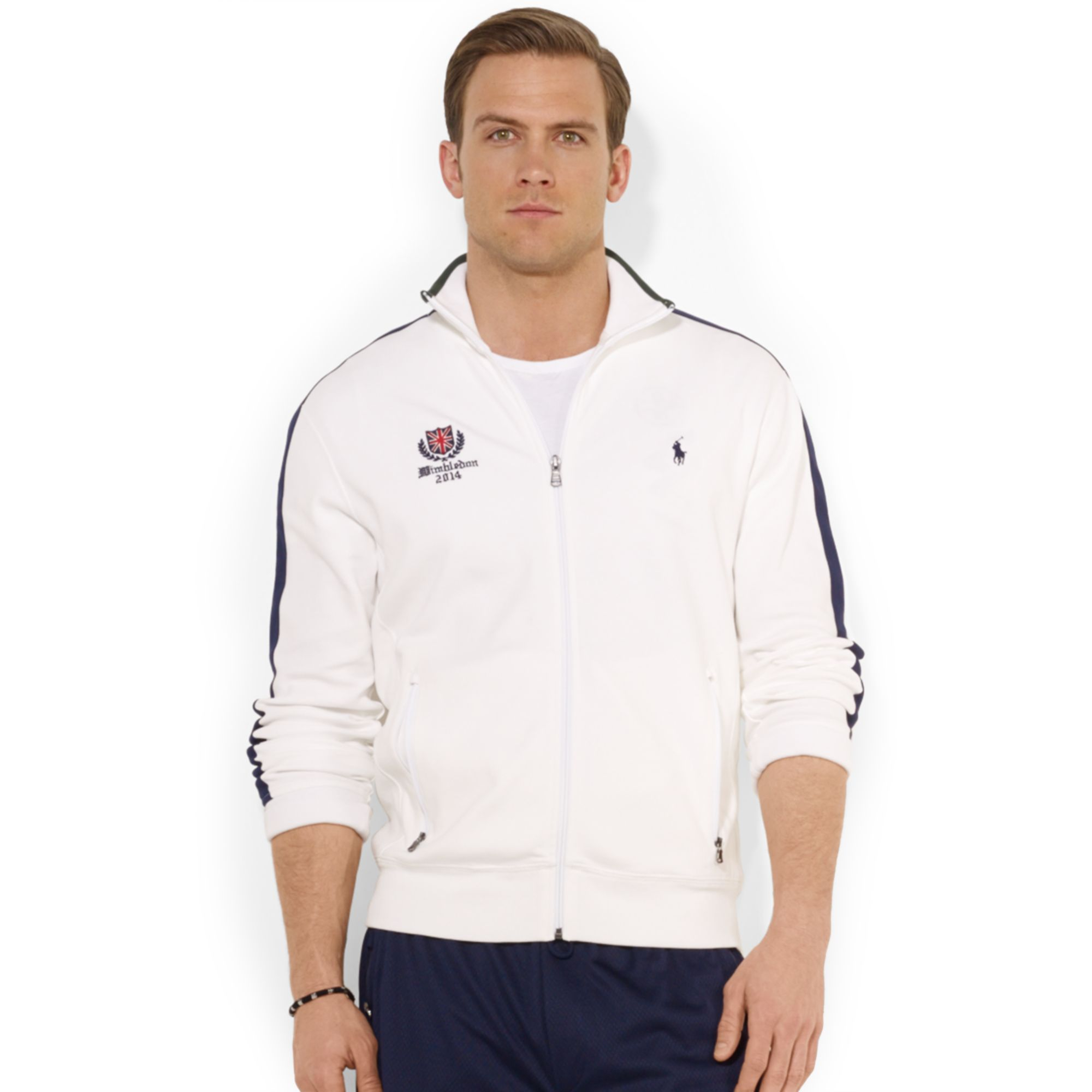 Polo Men Ralph Jacket Fullzip For White Track Lauren Wimbledon ZuOkiPX