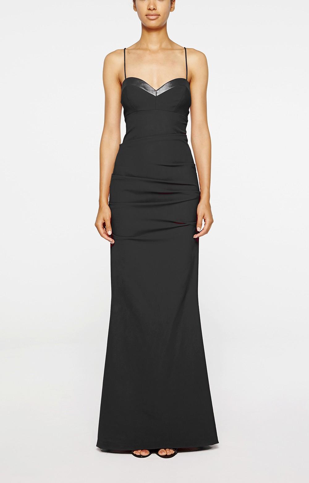 Lyst - Nicole Miller Sweetheart Tuck Gown in Black