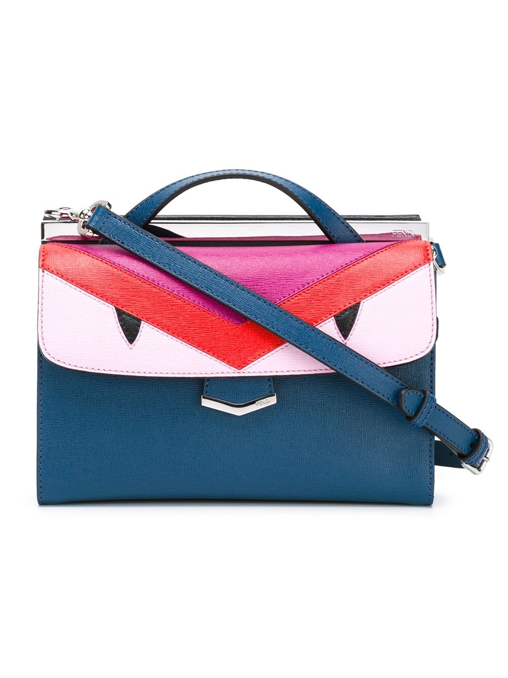 Lyst - Fendi Cobalt And Fuchsia Leather Monster  demi Jour  Split ... 45be88f72f