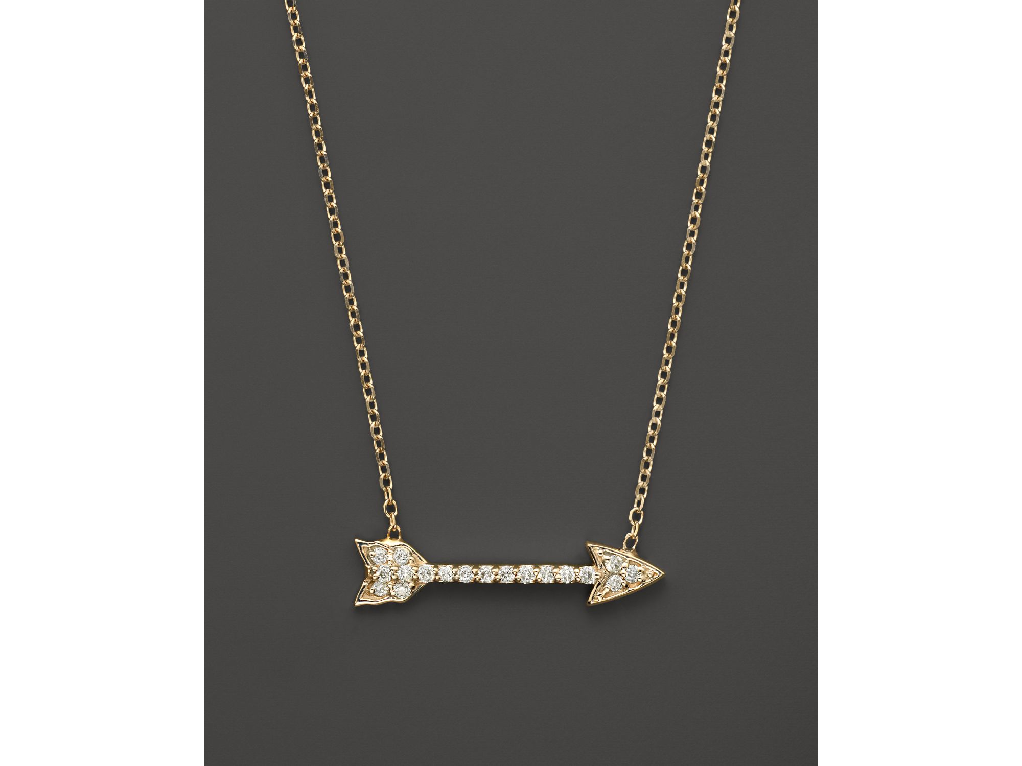 Lyst kc designs small diamond arrow pendant necklace in 14k yellow gallery aloadofball Image collections
