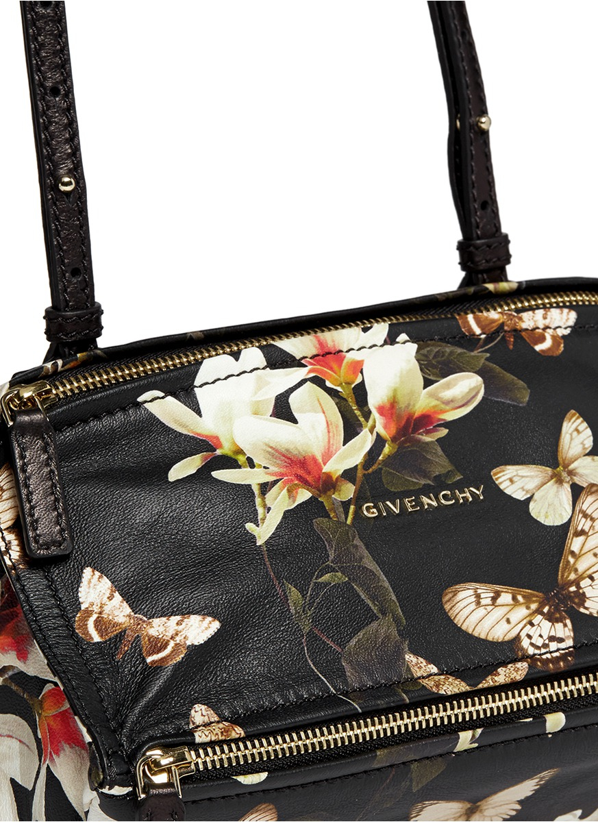 Lyst Givenchy Pandora Mini Magnolia And Erfly Print Leather Bag In Black