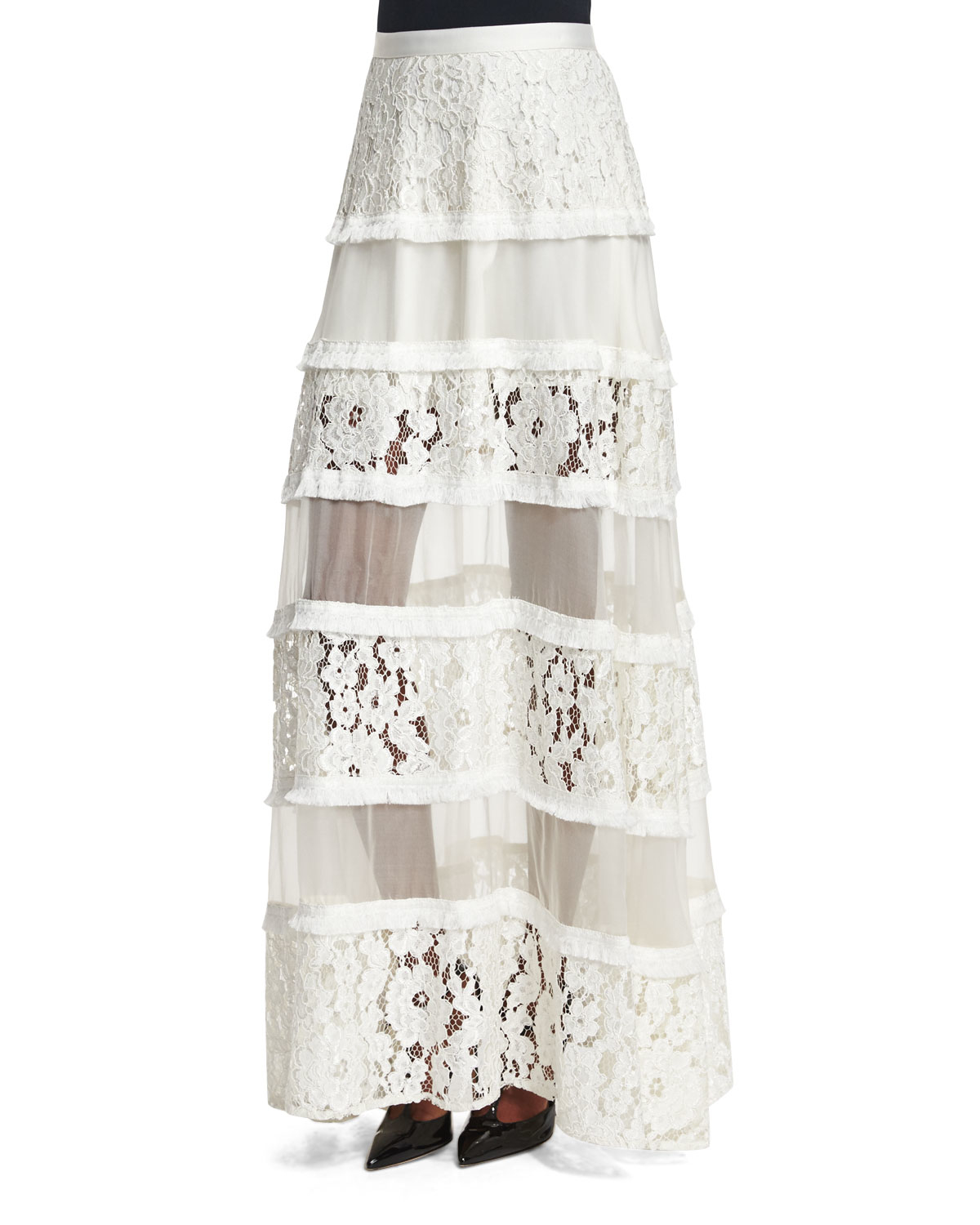 emil tiered lace maxi skirt in white save 56 lyst