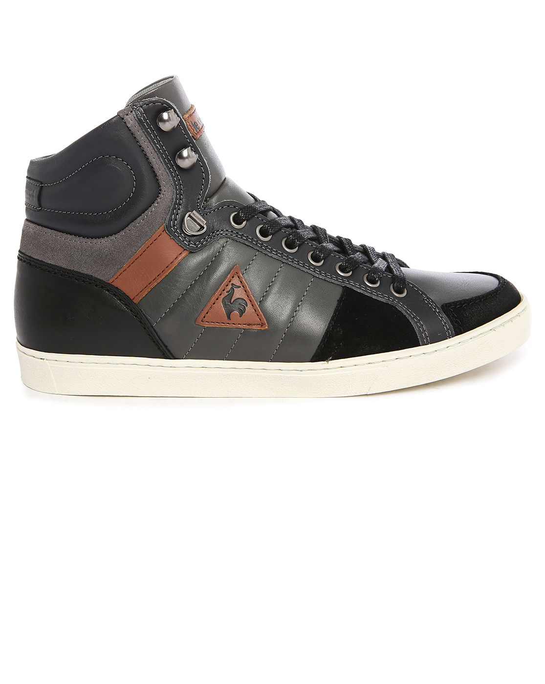 le coq sportif perpignan charcoal leather mid sneakers in gray for men grey lyst. Black Bedroom Furniture Sets. Home Design Ideas