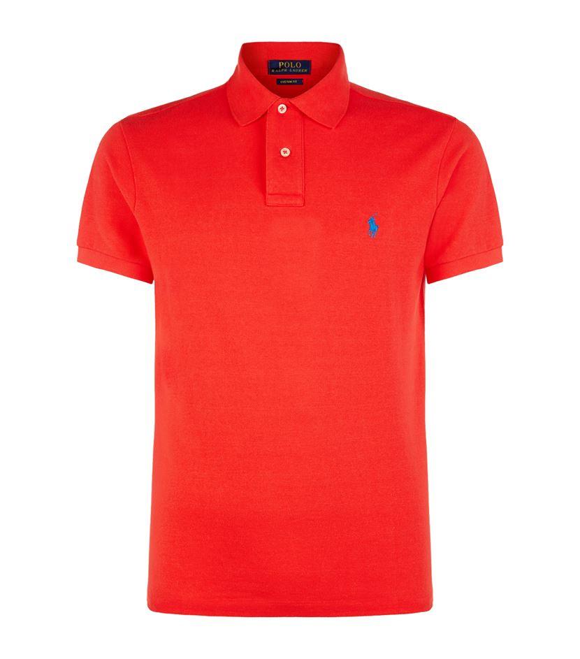 Polo ralph lauren custom fit pony polo shirt in red for for Polo ralph lauren custom fit polo shirt