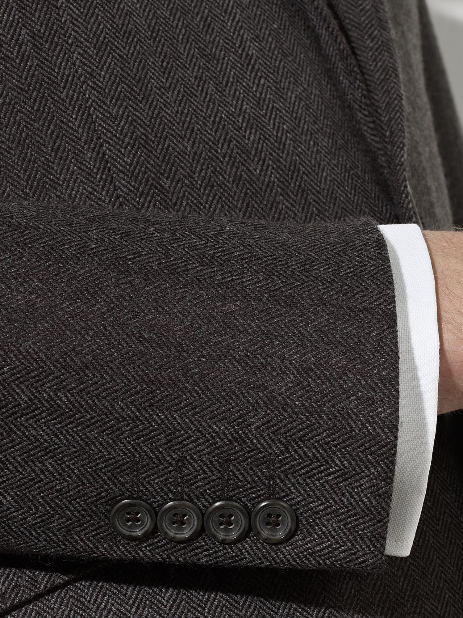 John Lewis Wool & Silk Herringbone Jacket in Brown for Men