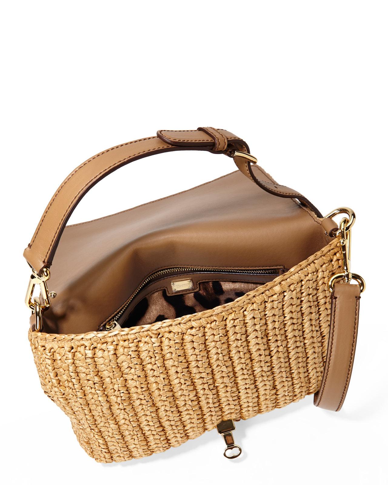 Lyst - Dolce   Gabbana Embellished Raffia Shoulder Bag in Brown 138b4dadec59a