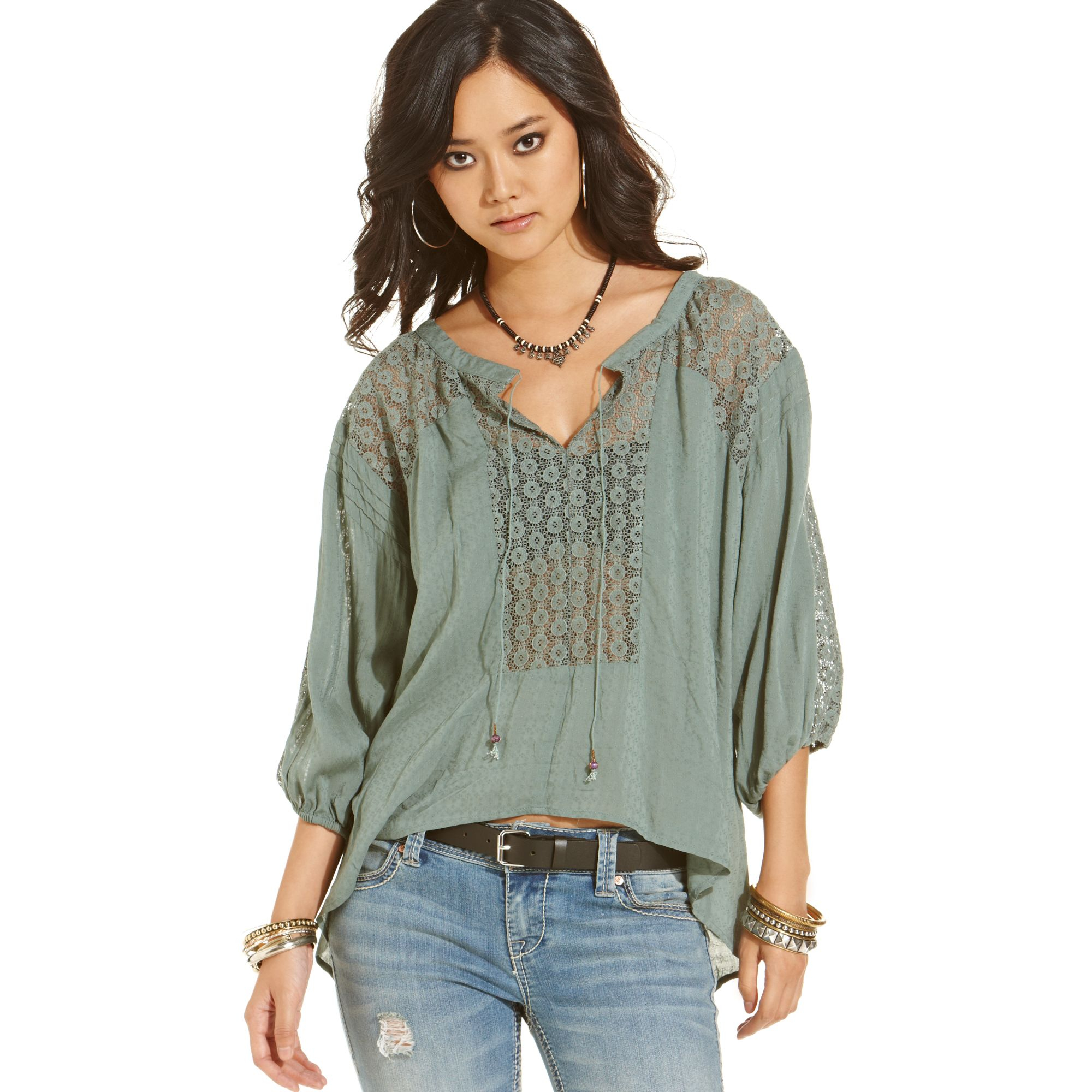 Free people lace peasant blouse in green lyst