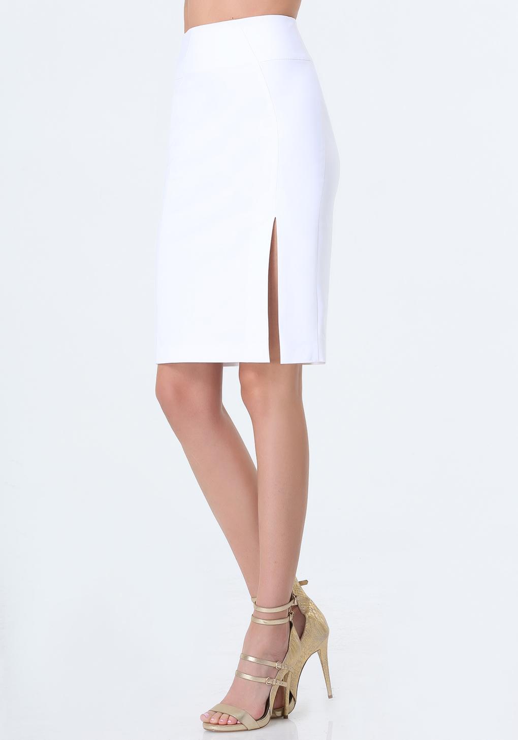 bebe josie pencil skirt in white lyst
