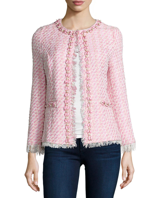 Michael simon Beaded Tweed Jacket in Pink | Lyst