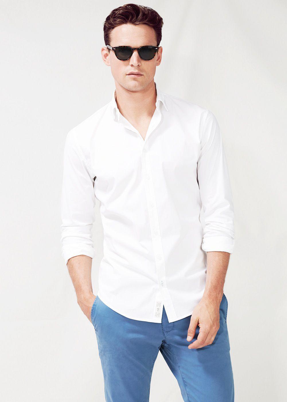 Mango slim fit cotton shirt in blue for men navy lyst for Slim fit cotton shirts