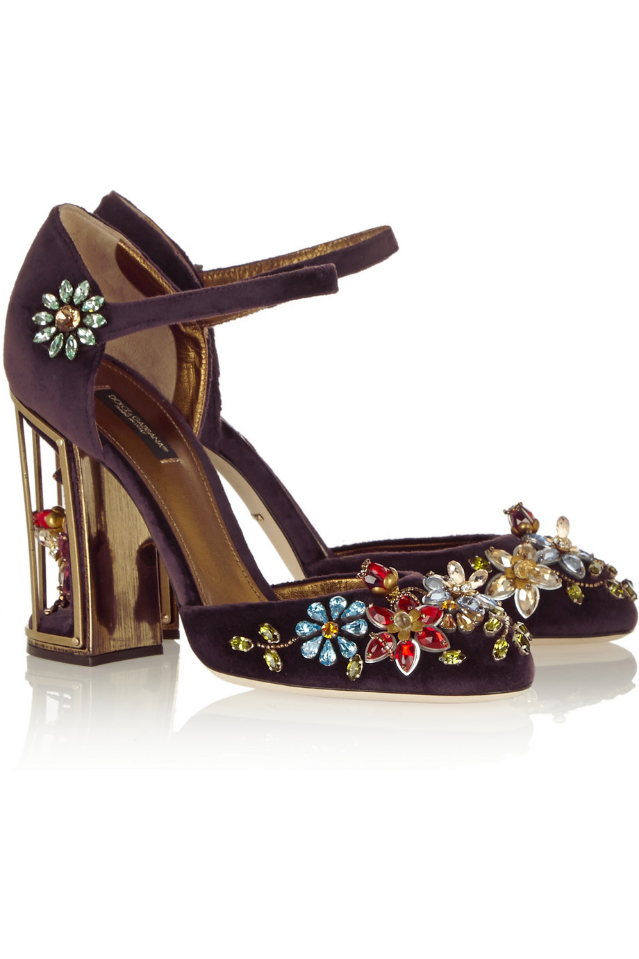 outlet 2015 new Dolce & Gabbana crystal embellished velvet Mary Janes cheap sale Inexpensive footlocker pictures for sale sale extremely K5KP5v