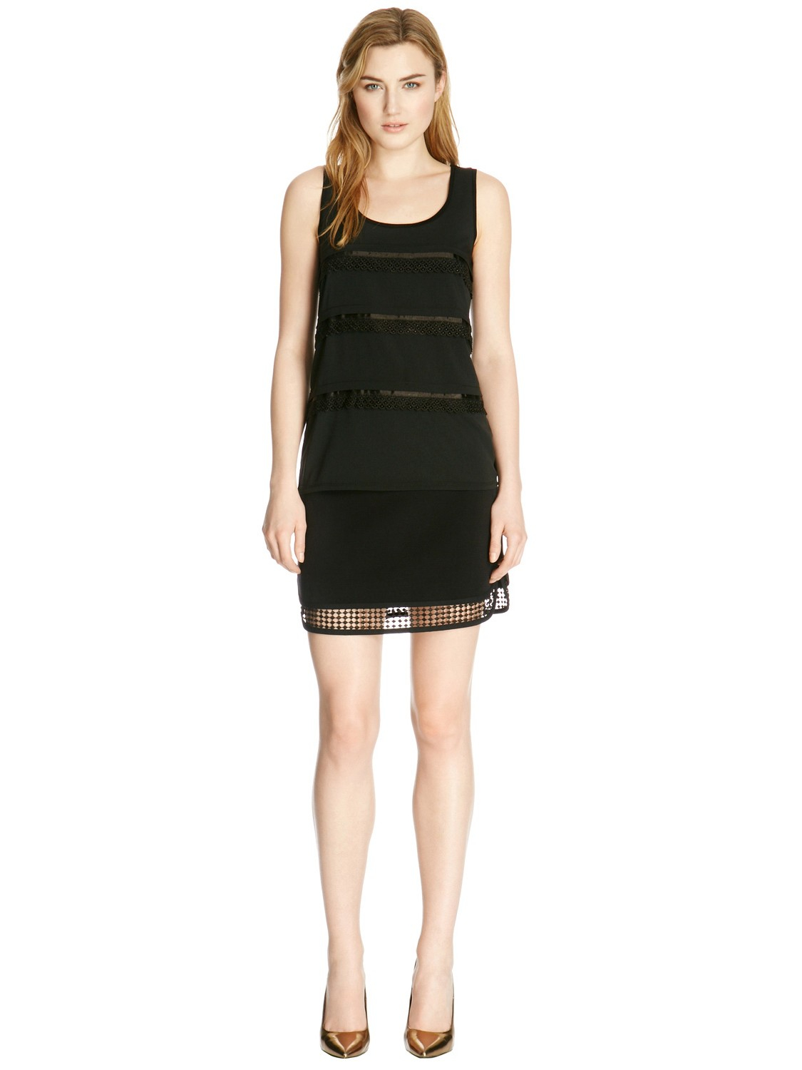Warehouse Lace And Grosgrain Vest in Black
