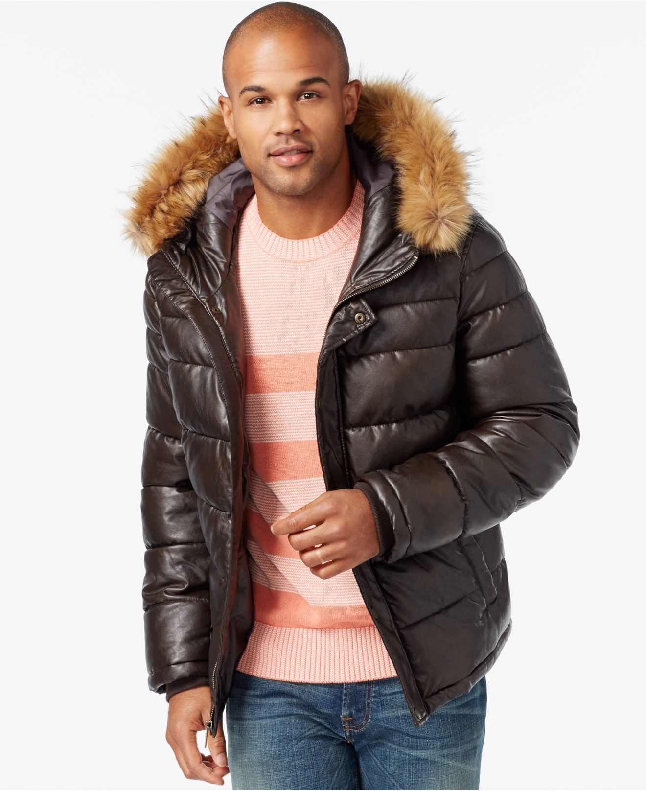 c541b7009fd Lyst Tommy Hilfiger Faux Leather Puffer Hoodie Jacket In Brown For Men.  Gallery. Lyst Tommy Hilfiger Black Faux Leather Zip Front ...