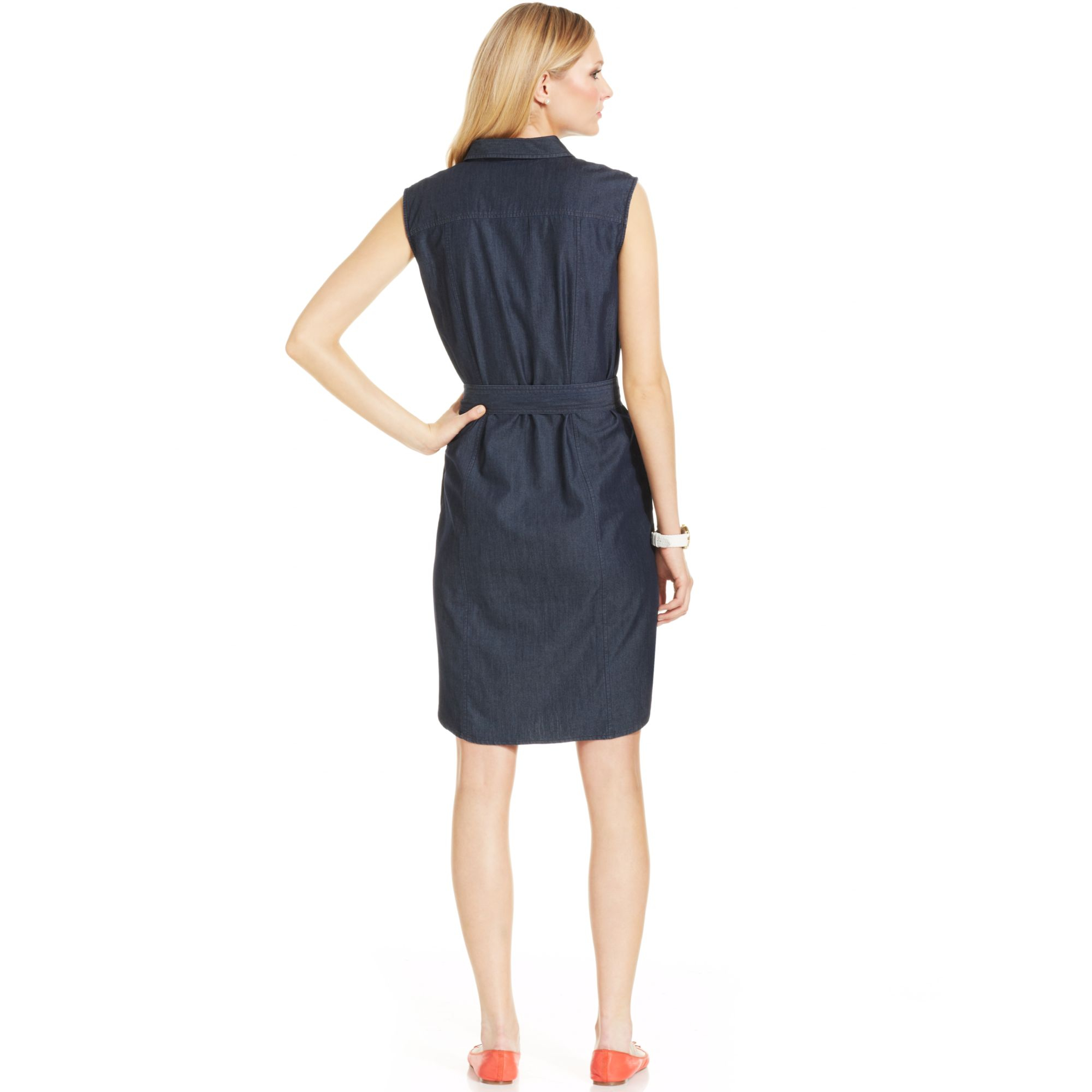 Lyst jones new york signature sleeveless belted denim for New york and company dress shirts