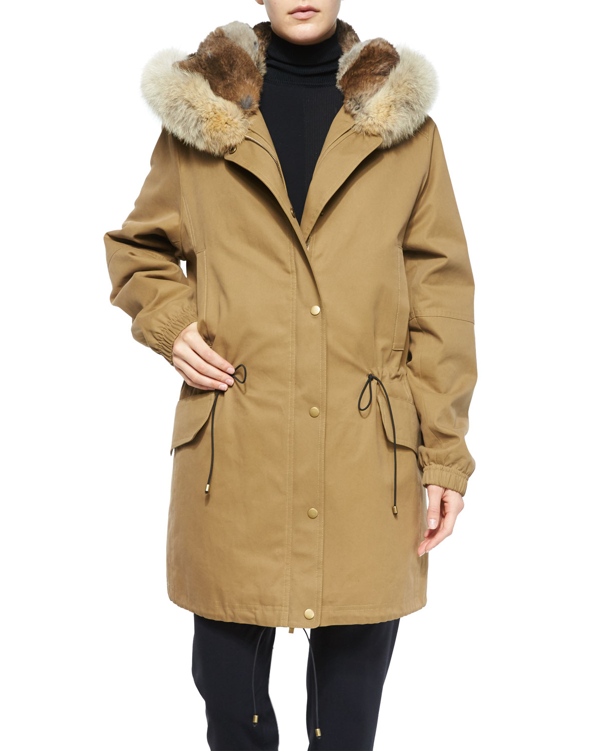 Vince Fur-Lined Parka Coat in Natural | Lyst