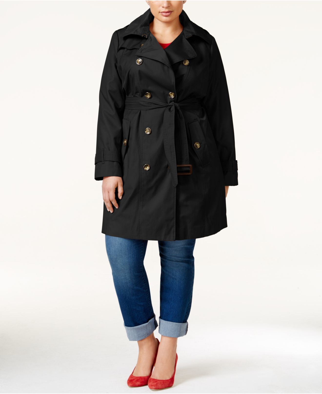 Unique Bargains - Womens Plus Size Double-Breasted Belted