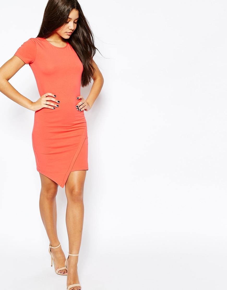 Asymmetric Short Sleeve Bodycon Dresses Hem Halter klein