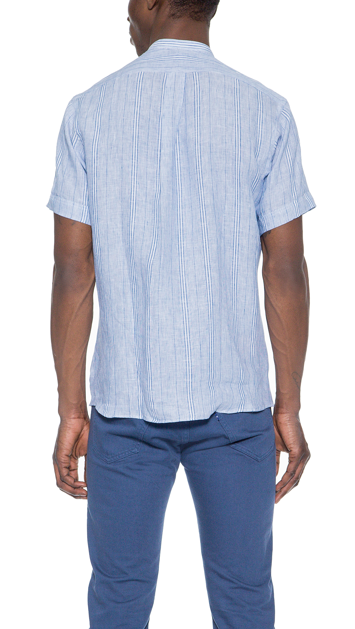 Hamilton 1883 Band Collar Linen Shirt In Blue For Men Lyst