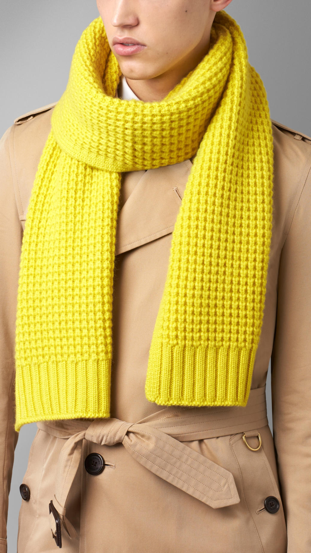 Burberry Waffle Knit Cashmere Scarf In Yellow For Men Lyst