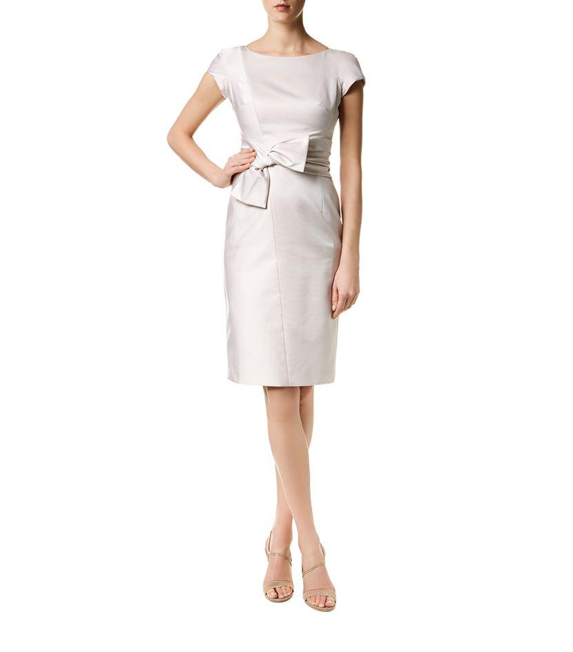 Paule ka Bow Front Cap Sleeve Dress in White