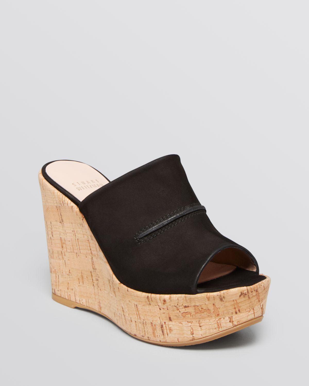 Stuart Weitzman Open Toe Slide Wedge Platform Sandals