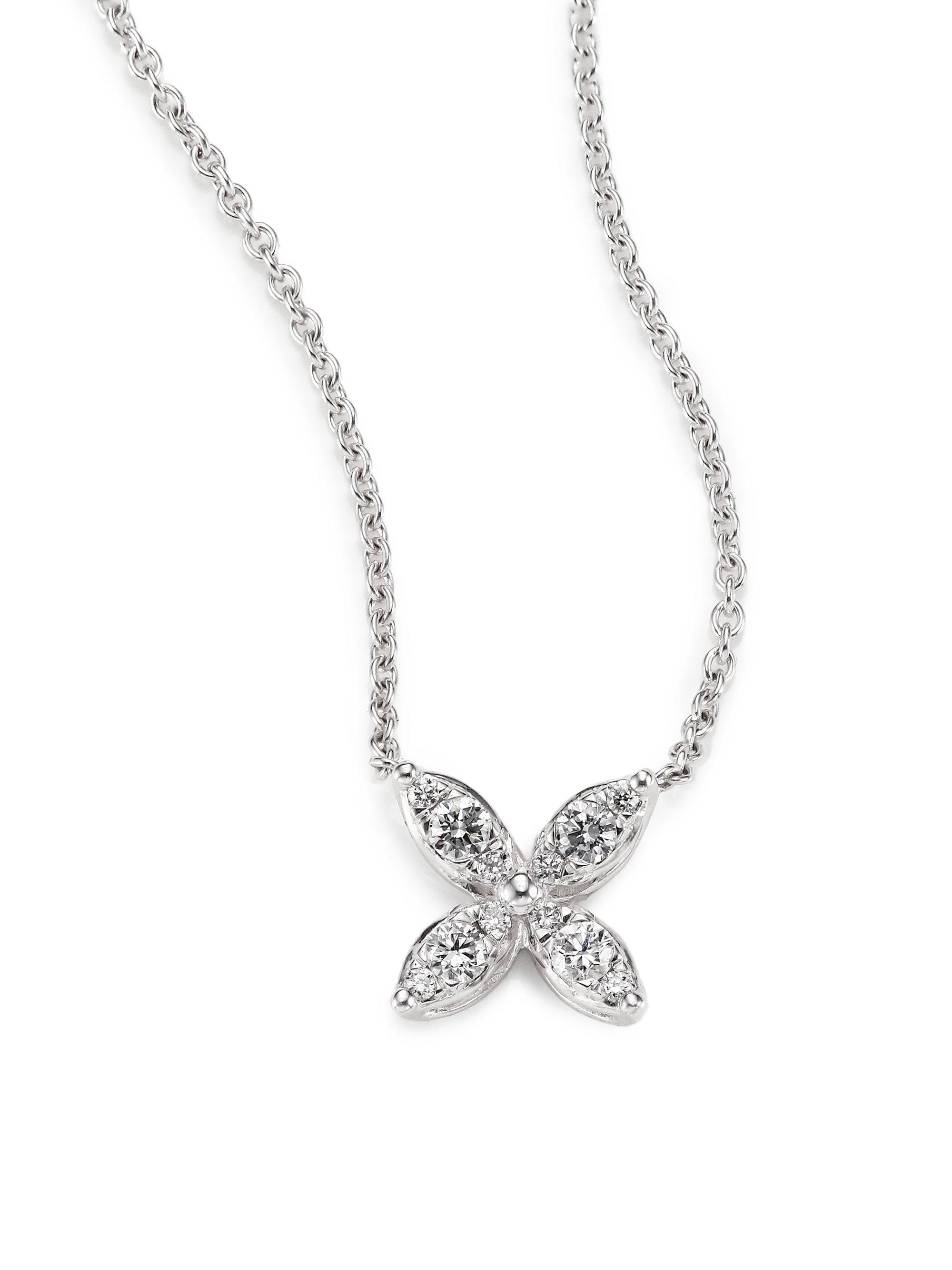 Lyst kwiat sunburst diamond 18k white gold small flower pendant gallery aloadofball Gallery