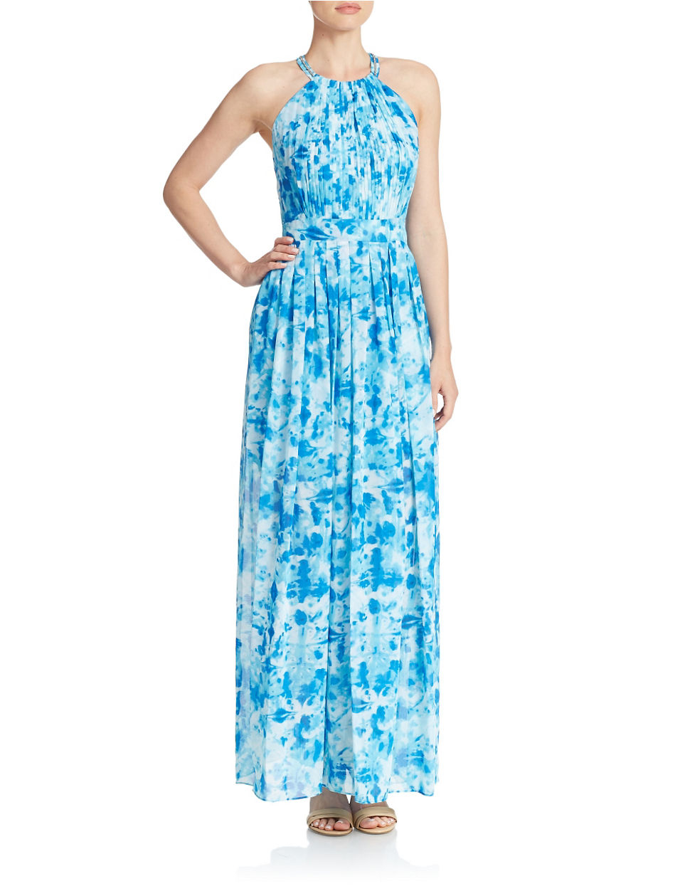 Calvin klein Patterned Maxi Dress in Blue | Lyst