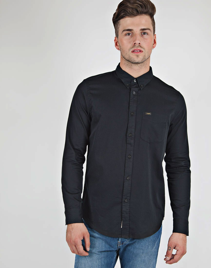 Lee jeans Button Down Shirt in Black for Men | Lyst
