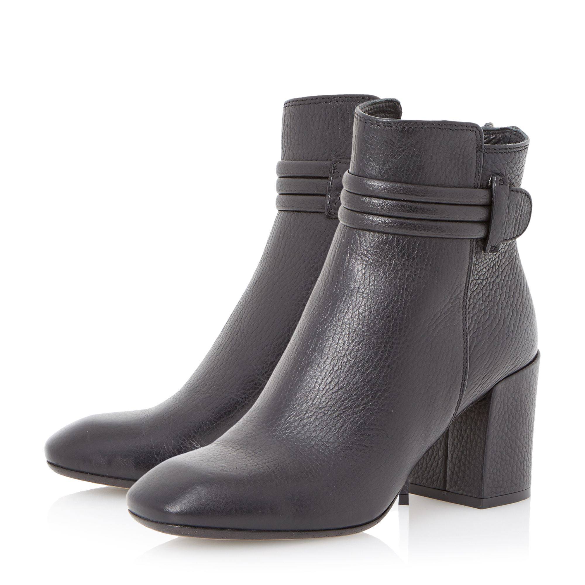 dune black olena square toe leather ankle boot in black lyst