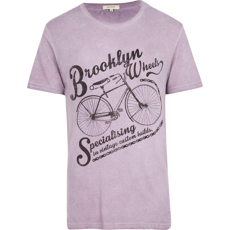 Lyst river island lilac brooklyn wheels bicycle print t for T shirt printing brooklyn
