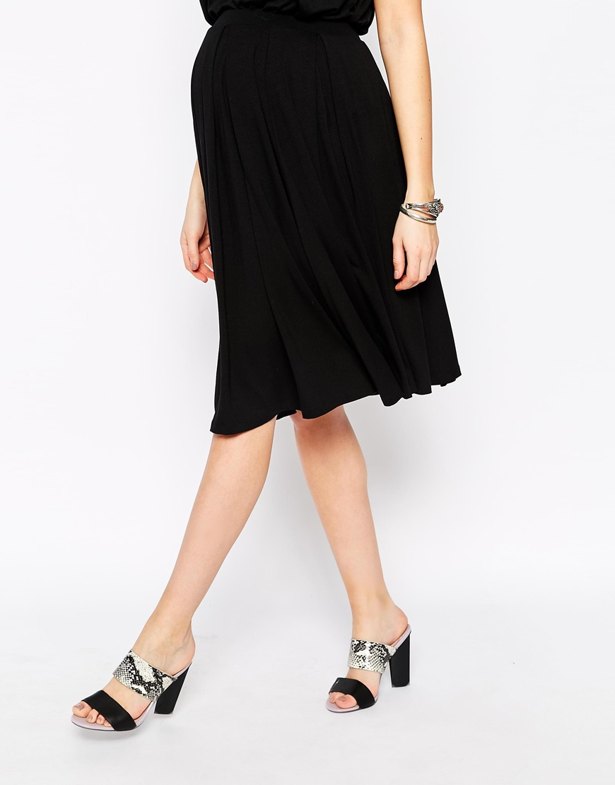 asos midi skirt with pleat detail in black lyst