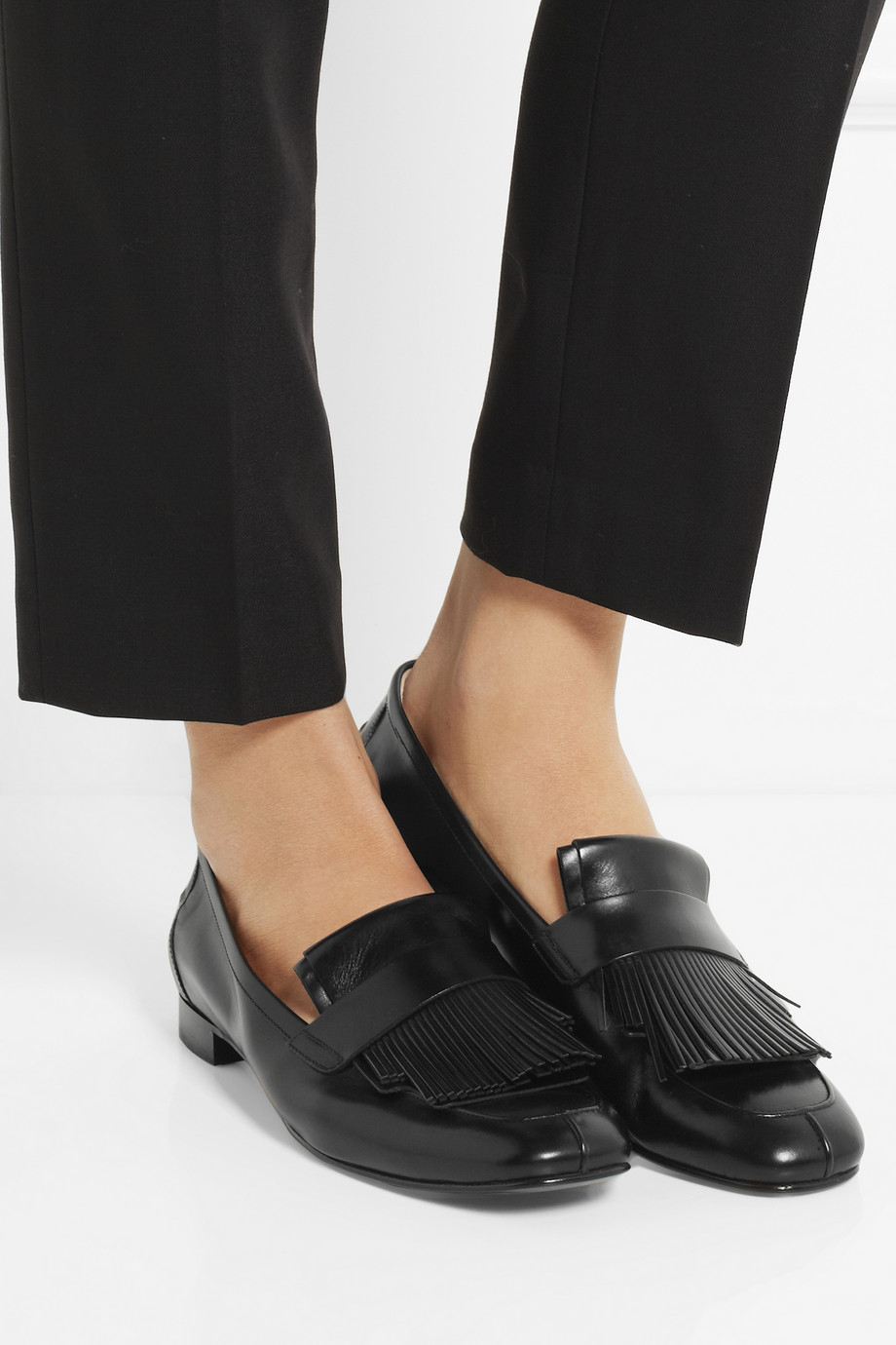 Lyst Tod S Fringed Leather Loafers In Black