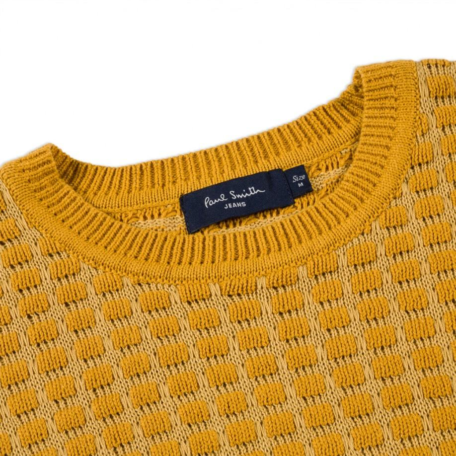 afeca05f086c Paul Smith Mustard Square Tuck-Stitch Cotton Sweater in Yellow for ...