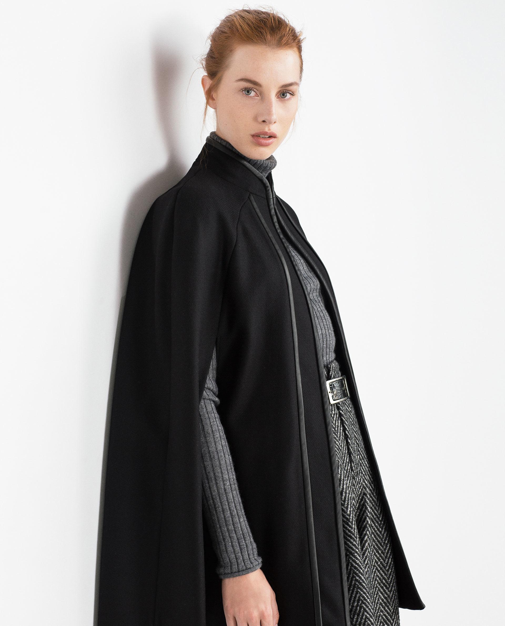 zara contrasting piped cape in black lyst. Black Bedroom Furniture Sets. Home Design Ideas