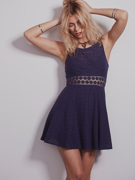 Free People Fitted With Daisies Dress In Blue Navy Lyst