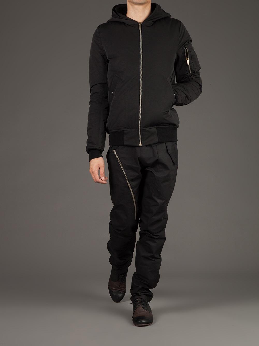 Lyst Rick Owens Hooded Bomber Jacket In Black For Men