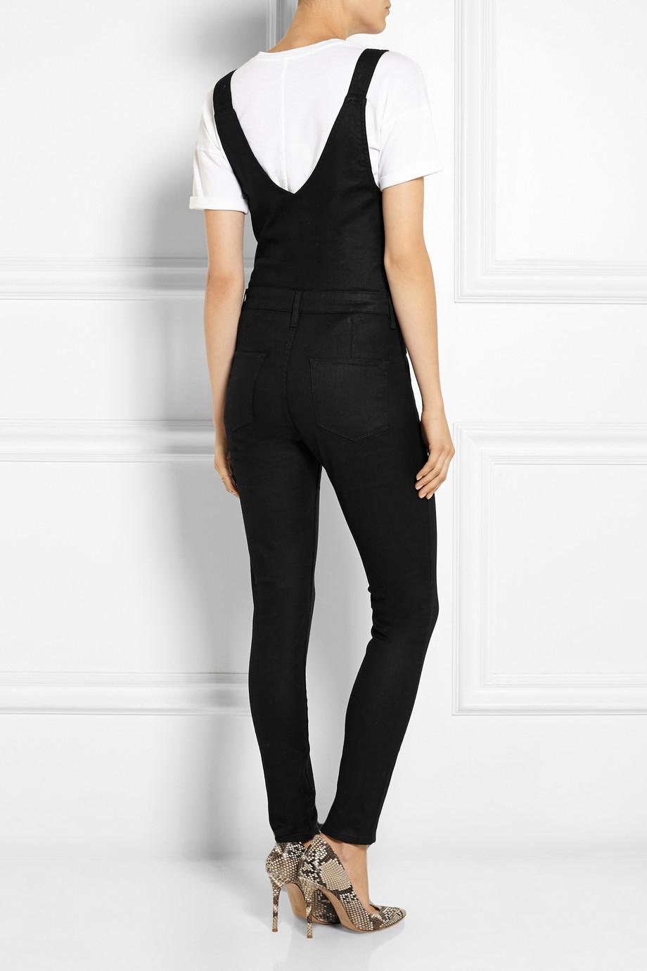 Lyst - Frame Le High Skinny Stretch-Denim Overalls in Black
