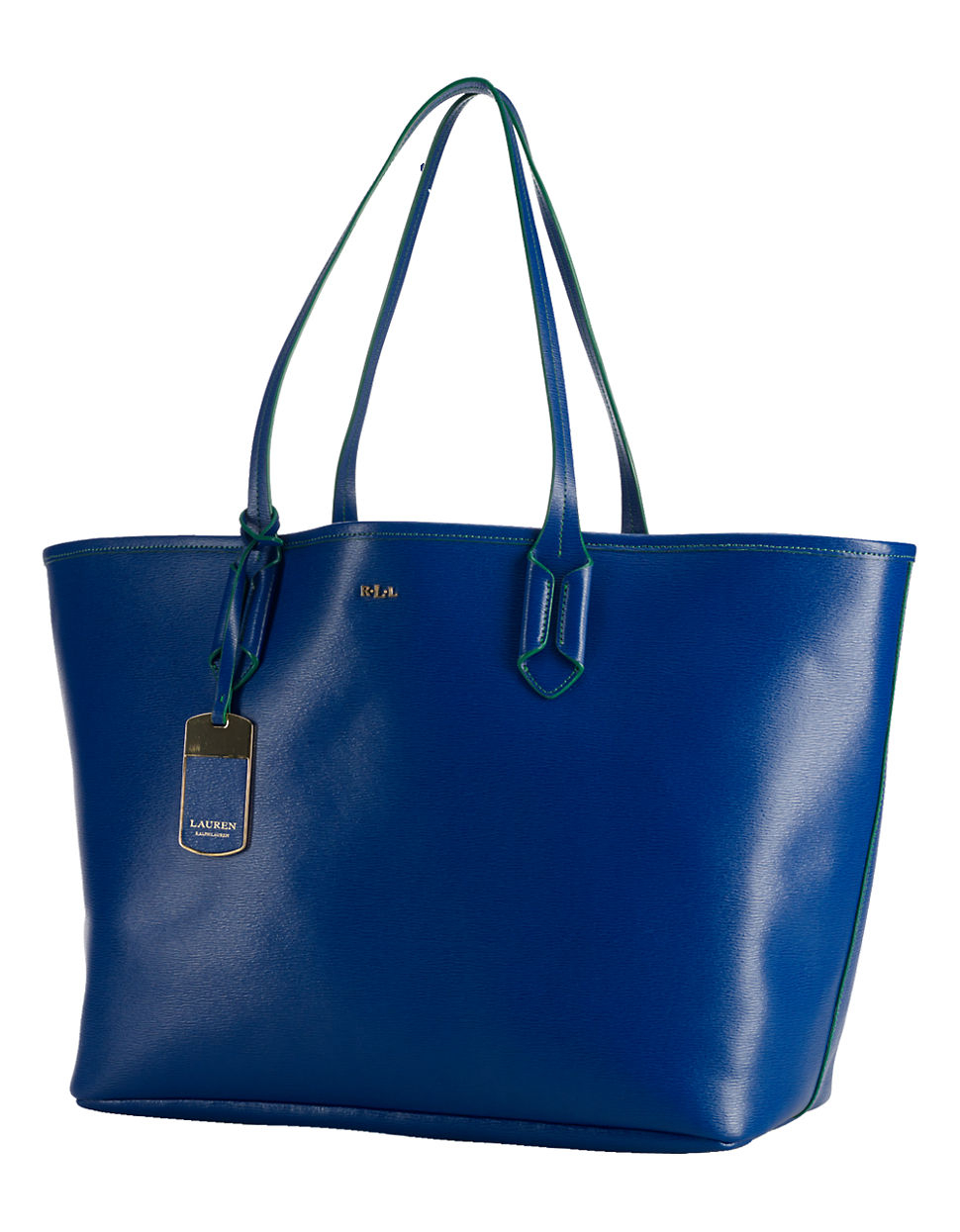 Lauren by ralph lauren Tate Classic Leather Tote Bag in Blue | Lyst