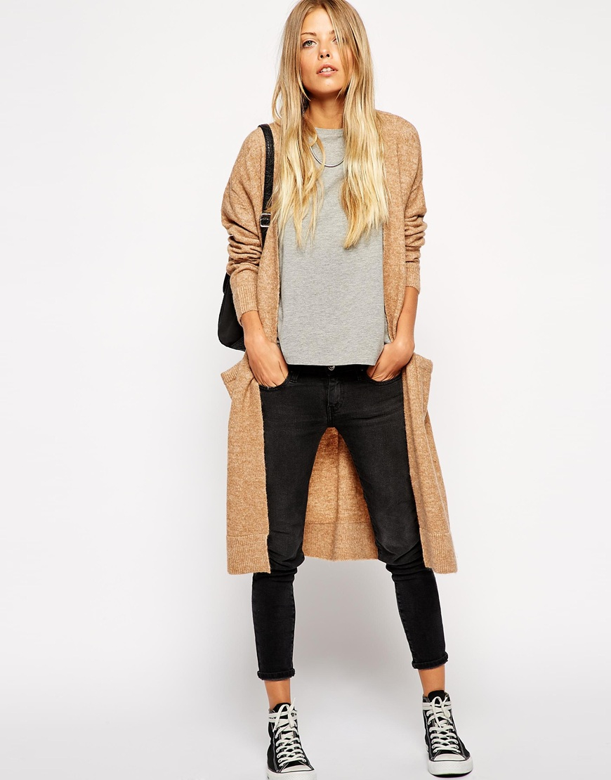 Asos Longline Cardigan With Mohair in Natural | Lyst