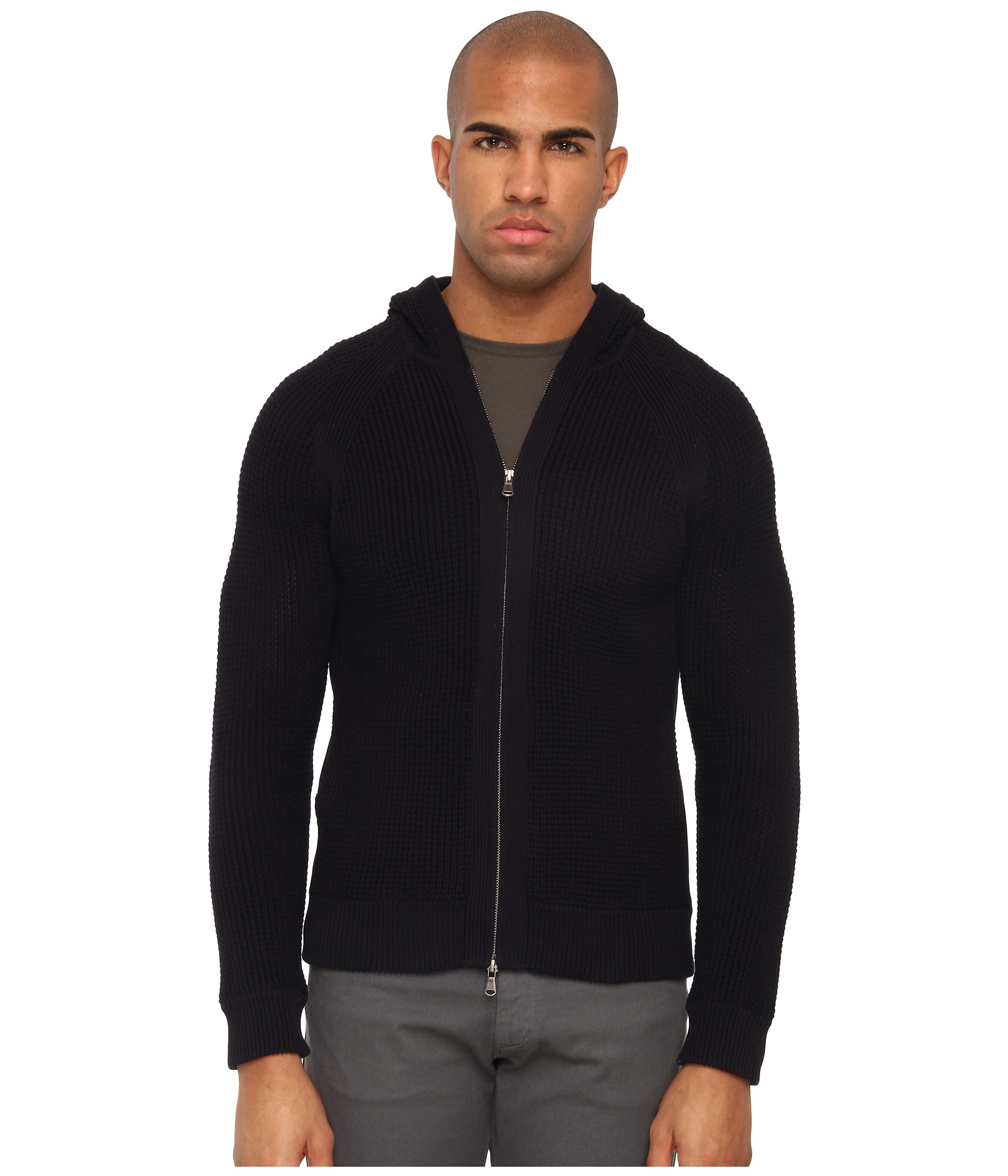 Vince Italian Cotton Thermal Hooded Zip Up Sweater in Blue for Men ...